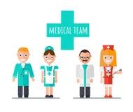 Γιατρός ιατρικής ομάδας, νοσοκόμα, βοηθός διανυσματική απεικόνιση