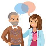 Γιατρός και ανώτερος ασθενής Άτομο που μιλά στον παθολόγο διάνυσμα απεικόνιση αποθεμάτων