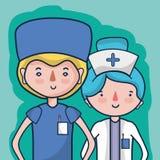 Γιατρός και νοσοκόμα για να βοηθήσει τους ανθρώπους διανυσματική απεικόνιση