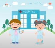 Γιατρός και νοσοκόμα ιατρική, γιατρός και νοσοκόμα στο νοσοκομείο, διάνυσμα διανυσματική απεικόνιση
