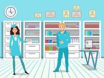 Γιατρός και νοσοκόμα σε ένα ιατρικό γραφείο Γραφεία στο εσωτερικό της κλινικής διανυσματική απεικόνιση