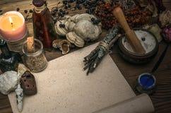 Γιατρός μαγισσών σαμάνος witchcraft Μαγικός πίνακας εναλλακτικός δίσκος biloba λουτρών μπαμπού ginkgo items medicine spa στοκ φωτογραφία με δικαίωμα ελεύθερης χρήσης