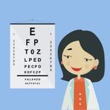 Γιατρός ματιών Χαρακτήρας γυναικών οφθαλμολόγων σε ομοιόμορφο Στοκ Φωτογραφίες