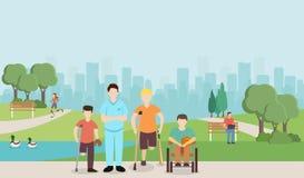 Γιατρός με τα με ειδικές ανάγκες παιδιά στο πάρκο μπλε διάνυσμα ουρανού ουράνιων τόξων εικόνας σύννεφων διανυσματική απεικόνιση