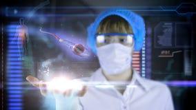 Γιατρός με τη φουτουριστική ταμπλέτα οθόνης hud Σπέρμα, spermatozoons ωάριο στο κύτταρο αυγών Ιατρική έννοια του μέλλοντος φιλμ μικρού μήκους