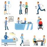 Γιατρός με τον ασθενή, τη νοσοκόμα με dropper, το καροτσάκι με τα φάρμακα, το θεράποντα s και το γραφείο οφθαλμολόγων s, λειτουργ διανυσματική απεικόνιση