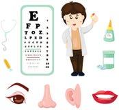 Γιατρός με το διάγραμμα, την ιατρική και το μέρος ματιών του σώματος ελεύθερη απεικόνιση δικαιώματος