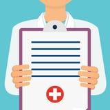 Γιατρός με το παλτό εργαστηρίων που κρατά μια περιοχή αποκομμάτων με την ιατρική έκθεση, π απεικόνιση αποθεμάτων