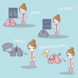 Γιατρός με το πρόβλημα πνευμόνων διανυσματική απεικόνιση