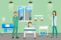 Γιατρός, νοσοκόμα και ασθενής στο δωμάτιο νοσοκομείων απεικόνιση αποθεμάτων