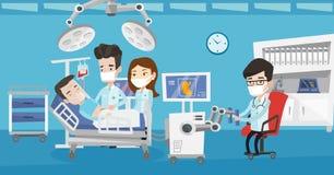 Γιατρός που εκτελεί τη λειτουργία που περιλαμβάνει το ρομπότ ελεύθερη απεικόνιση δικαιώματος