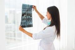 Γιατρός που εξετάζει την ακτίνα X ή έννοια υγειονομικής περίθαλψης έννοιας MRI την ιατρικής και ακτινολογίας, Στοκ Εικόνες