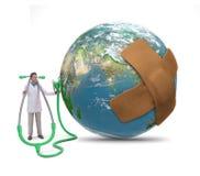 Γιατρός που εξετάζει τη γη απεικόνιση αποθεμάτων