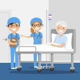Γιατρός που εξηγεί τη διάγνωση στον αρσενικό ασθενή του στο νοσοκομείο διανυσματική απεικόνιση