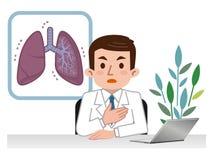 Γιατρός που εξηγεί τους πνεύμονες Στοκ φωτογραφία με δικαίωμα ελεύθερης χρήσης