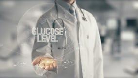 Γιατρός που κρατά το διαθέσιμο επίπεδο γλυκόζης χεριών διανυσματική απεικόνιση