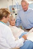 Γιατρός που μιλά στο ανώτερο ζεύγος στο θάλαμο Στοκ φωτογραφία με δικαίωμα ελεύθερης χρήσης