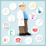Γιατρός στο ύφος κινούμενων σχεδίων Σύνολο εικονιδίων σε ένα ιατρικό θέμα Στοκ Εικόνες