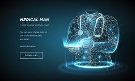 Γιατρός του αφηρημένου χαμηλού πολυ wireframe στο σκοτεινό υπόβαθρο Έννοια της υγείας, ιατρική Υποδοχή στο γιατρό Σημείο πλεγμάτω απεικόνιση αποθεμάτων