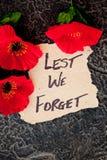 Για να μην ξεχνάμε - Anzac - την ενθύμηση Στοκ Εικόνες