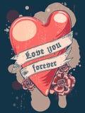 για πάντα αγάπη εσείς Καρδιά με την κορδέλλα Σχέδιο μπλουζών ή αφισών Στοκ Εικόνα
