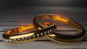 Για πάντα αγάπη - τα χρυσά γαμήλια δαχτυλίδια ένωσαν μαζί για πάντα με χαραγμένος και να φορέσουν γάντια λέξεις ελεύθερη απεικόνιση δικαιώματος