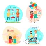 για πάντα φίλοι Απεικονίσεις ημέρας φιλίας καθορισμένες Στοκ εικόνες με δικαίωμα ελεύθερης χρήσης
