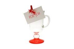 Για σας γυαλί Χριστουγέννων με την αυτοκόλλητη ετικέττα Στοκ φωτογραφία με δικαίωμα ελεύθερης χρήσης