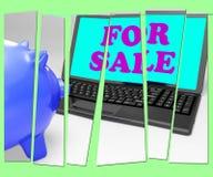 Για την πώληση Piggy η τράπεζα σημαίνει τα προϊόντα στους αγοραστές διανυσματική απεικόνιση