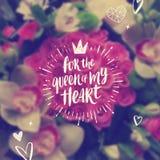 Για τη βασίλισσα της καρδιάς μου - ευχετήρια κάρτα ημέρας βαλεντίνων ελεύθερη απεικόνιση δικαιώματος
