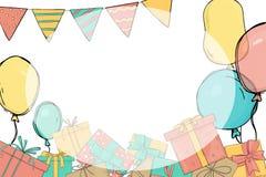 Πρόσκληση στο κόμμα Δώρα και μπαλόνια διανυσματική απεικόνιση