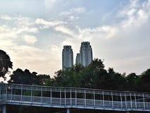 Για τους πεζούς γέφυρα στην Τζακάρτα Στοκ Εικόνες