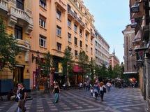 Για τους πεζούς λεωφόρος, κέντρο της Μαδρίτης, Ισπανία Στοκ Εικόνες