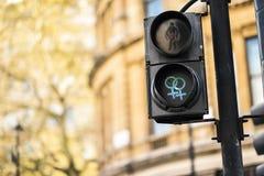 Για τους πεζούς σήματα φωτεινού σηματοδότη LGBT που συμβολίζουν την ισότητα, την ποικιλομορφία και την ανοχή στοκ εικόνες
