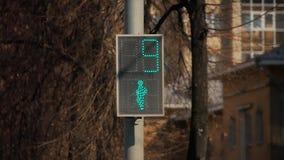 Για τους πεζούς φωτεινός σηματοδότης με το πράσινο φως αναμμένο απόθεμα βίντεο