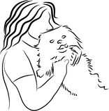 για χάδια σκυλί Στοκ εικόνα με δικαίωμα ελεύθερης χρήσης