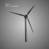 Γιγαντιαία διανυσματική απεικόνιση αεροστροβίλων πράσινη ισχύς γεννητριών Φιλική προς το περιβάλλον πηγή ισχύος Στοκ Εικόνα