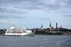 Γιγαντιαία κρουαζιερόπλοια και απόψεις της Βενετίας Στοκ Εικόνες
