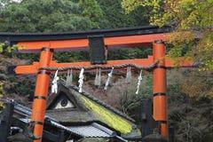 Γιγαντιαία πύλη torii στη λάρνακα Shinto το φθινόπωρο Στοκ Φωτογραφίες
