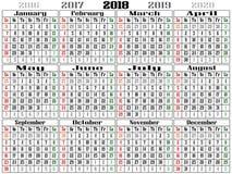 Γιγαντιαίο ημερολόγιο 2018 τοπίων του 2018 ελεύθερη απεικόνιση δικαιώματος