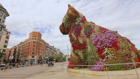 Γιγαντιαίο κουτάβι λουλουδιών που στέκεται μπροστά από το μουσείο του Γκούγκενχαϊμ στο Μπιλμπάο, Ισπανία απόθεμα βίντεο