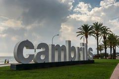 Γιγαντιαίο σημάδι Cambrils, Ισπανία στοκ φωτογραφίες