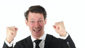 Γιορτάζοντας επιτυχής επιχειρηματίας στο άσπρο υπόβαθρο Στοκ φωτογραφία με δικαίωμα ελεύθερης χρήσης