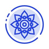 Γιορτάστε, διακοσμήστε, διακόσμηση, Diwali, ινδός, μπλε εικονίδιο γραμμών διαστιγμένων γραμμών Holi διανυσματική απεικόνιση