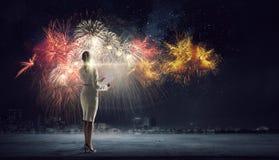 Γιορτάστε την επιτυχία σας Μικτά μέσα στοκ φωτογραφία