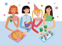 Γιορτή γενεθλίων με διανυσματική απεικόνιση τεσσάρων τη χαριτωμένη φίλων κοριτσιών Να κουβεντιάσει Girldfriends, που τσιμπά κατά  Στοκ εικόνες με δικαίωμα ελεύθερης χρήσης