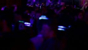 Γιορτή κομμάτων χορού disco νύχτας της Βαρκελώνης απόθεμα βίντεο