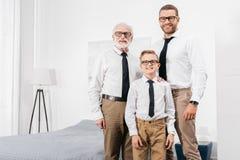 Γιος και παππούς πατέρων που φορούν τον επίσημο ιματισμό και γυαλιά που στέκονται στην κρεβατοκάμαρα και το κοίταγμα στοκ εικόνα με δικαίωμα ελεύθερης χρήσης