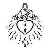 Γιος του Θεού με μια κορώνα των αγκαθιών στο κεφάλι του, μια καρδιά με ένα χρώμιο διανυσματική απεικόνιση