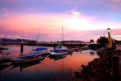 γιοτ ηλιοβασιλέματος Στοκ Φωτογραφία